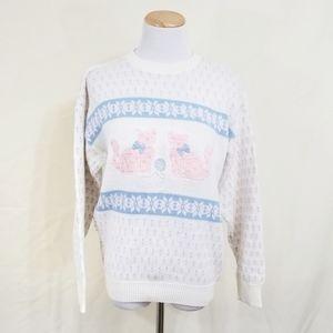 Vintage cat sweater pastel kawaii pink kitten 80s